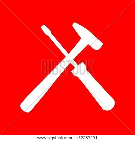 Tools sign illustration. White icon on red background.