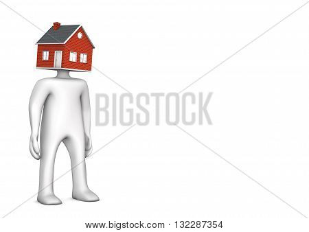 Manikin with house head on the white. 3d illustration.