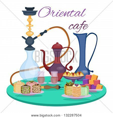 Oriental cafe banner. Dessert table. Hookah and tea, sweets and dessert, teapot and glasses on the table. Arabian Coffee break. Oriental sweets. Vector illustration, cartoon style