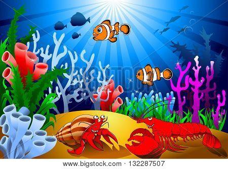 meeting of two cheerful crayfish on the ocean floor vector;
