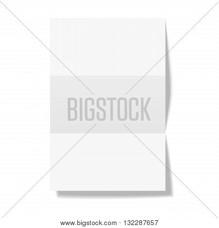 Three times folded paper sheet isolated on white background