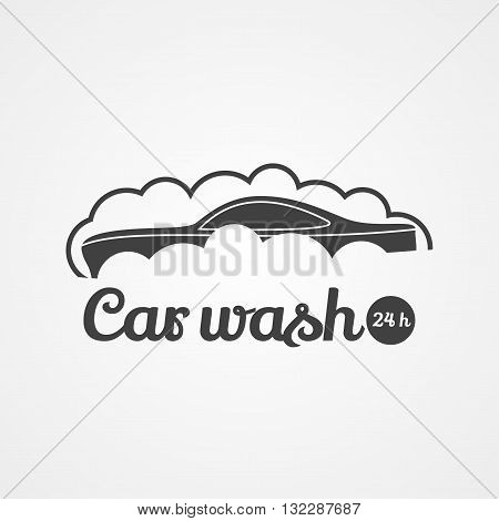Car wash vector logotype. DEsign element. Car in bubbles
