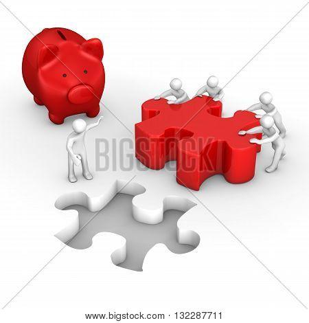 Manikins Puzzle Red Piggy Bank