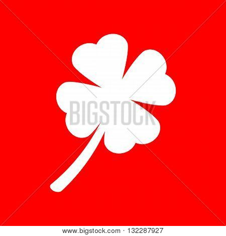 Leaf clover sign. White icon on red background.