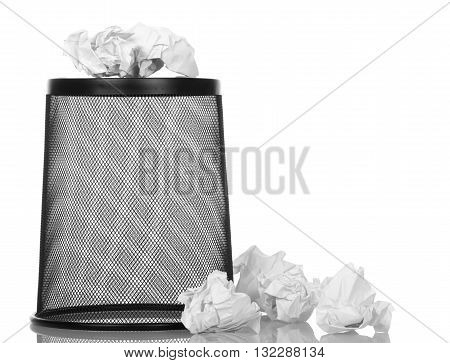 Basket for paper waste isolated on white background.