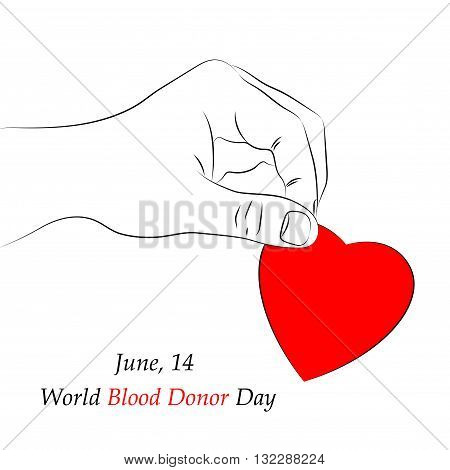 Vector Red Heart in Hand isolated on white background. Element for the World Blood Donor Day and other medical projects and design. Red Heart Icon. Medical Blood Donation Design Elements.