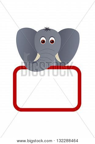 Big cute elephant with a blank board.
