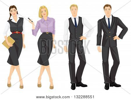 Vector illustration of corporate dress code. Young man in formal grey suit. Secretary or manager with document in formal clothes. Pretty blond woman in glasses holding mobile phone in her hand.