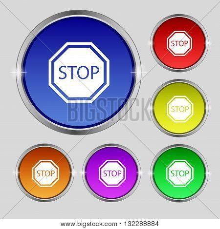 Stop Icon Sign. Round Symbol On Bright Colourful Buttons. Vector