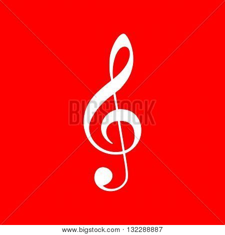 Music violin clef sign. G-clef. Treble clef. White icon on red background.