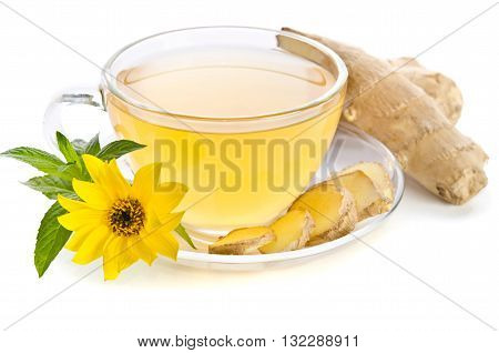 Cup of tea with ginger slices and Echinacea flower near isolated on white background