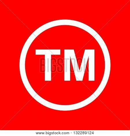 Trade mark sign. White icon on red background.