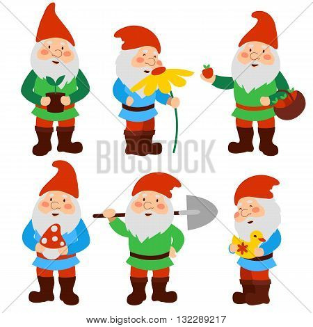 A set of cartoon garden gnomes. vector