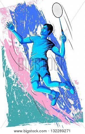 Concept of sportsman playing Badminton. Vector illustration