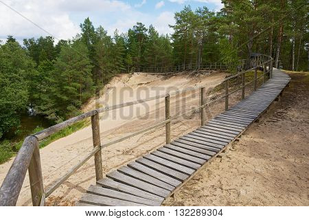 Wooden passage in the dunes in Roja, Latvia.