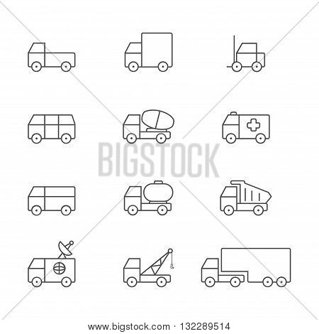 Transportation gray line icons set of 16