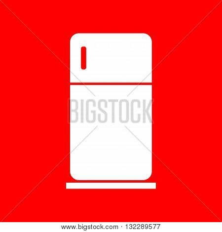Refrigerator sign illustration. White icon on red background.
