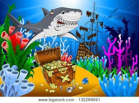 great evil shark pirate guarding a treasure vector