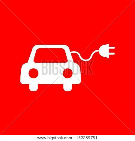 Eco electric car sign. White icon on red background.