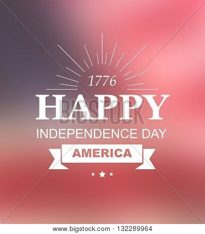 Bright vector to the Independence Day of America. 4th of July US Celebration. United States of America. Symbol feast of stars, blue and red background. Beautiful illustrations with typography poster