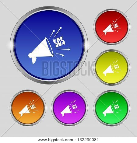 Sos Web Speaker Icon Sign. Round Symbol On Bright Colourful Buttons. Vector