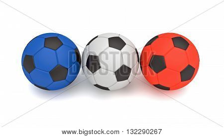 French flag Tricolor soccer balls 3d illustration on a white background