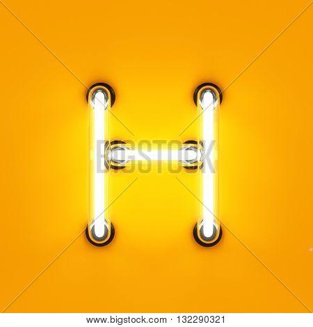 Neon Light Alphabet Character H Font
