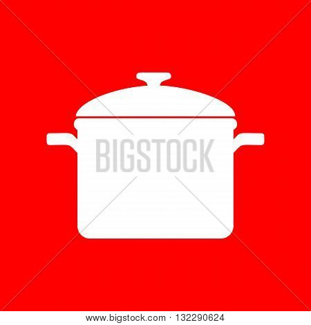 Cooking pan sign. White icon on red background.