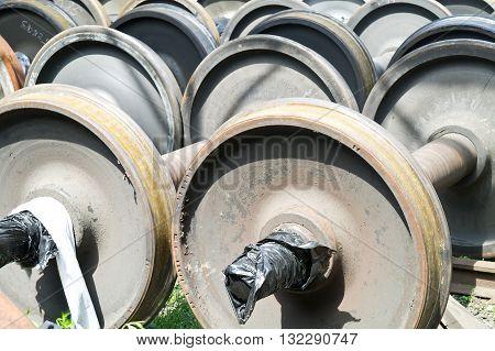 Wheelpairs on storage in a railway depot
