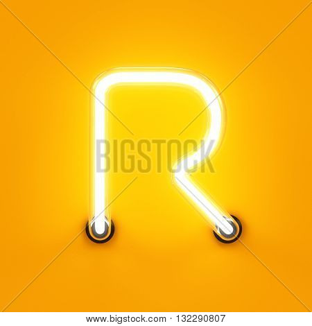 Neon Light Alphabet Character R Font
