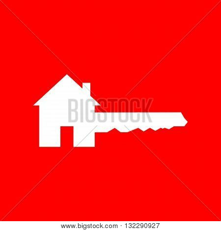 Home Key sign. White icon on red background.