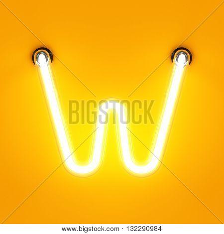 Neon Light Alphabet Character W Font