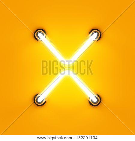 Neon Light Alphabet Character X Font