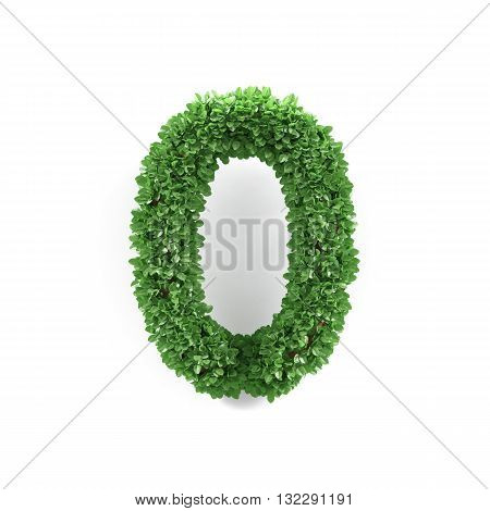 Green Leaves 0 Zero Ecology Digits Alphabet Font