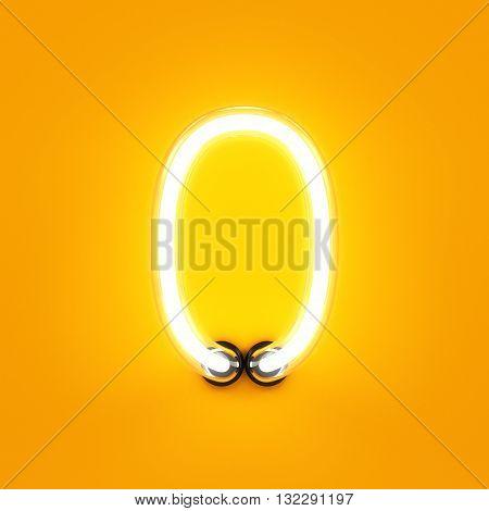 Neon Light Digit Alphabet Character 0 Font