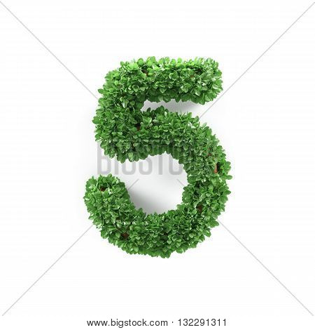 Green Leaves 5 Five Ecology Digits Alphabet Font