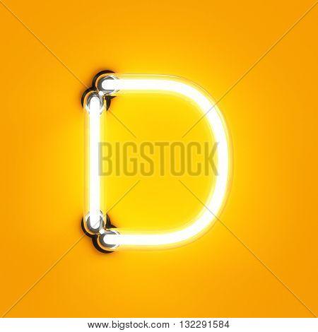 Neon Light Alphabet Character D Font