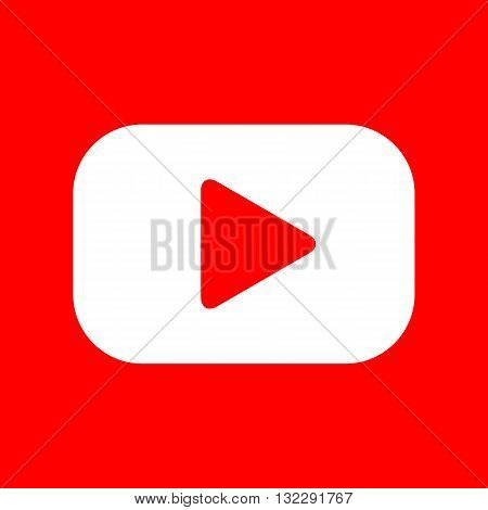 Play button sign. White icon on red background.