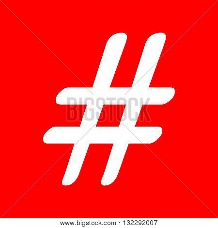 Hashtag sign illustration. White icon on red background.