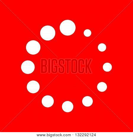 Circular loading sign. White icon on red background.