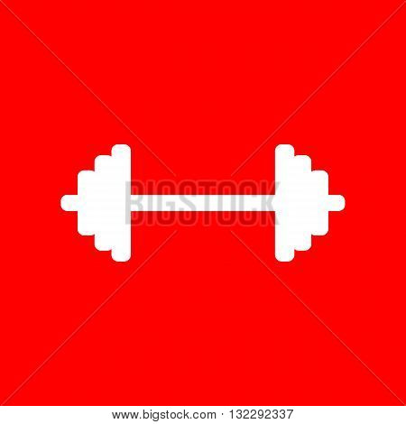 Dumbbell weights sign. White icon on red background.