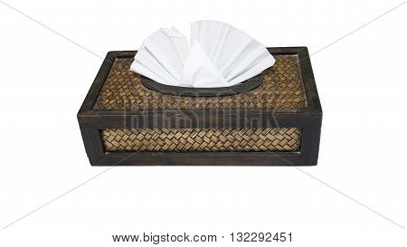 Tissue paper box made from bamboo wood isolated on white background