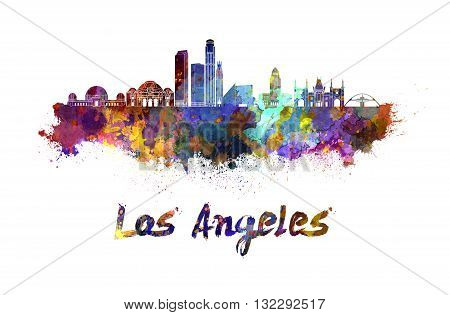 Los Angeles skyline in watercolor splatters with clipping path