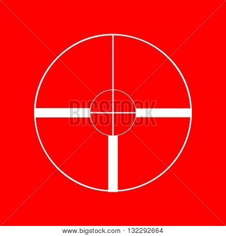 Sight sign illustration. White icon on red background.