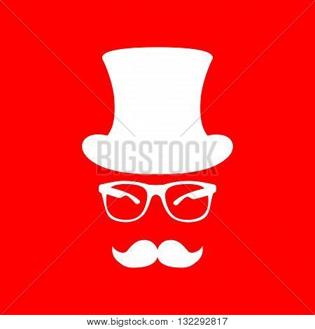 Hipster accessories design. White icon on red background.