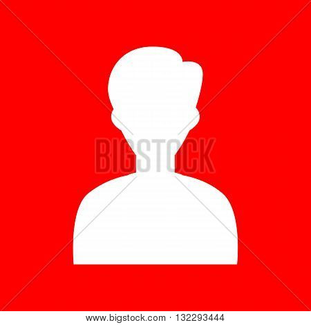 User avatar illustration. Anonymous sign. White icon on red background.