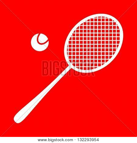 Tennis racquet sign. White icon on red background.