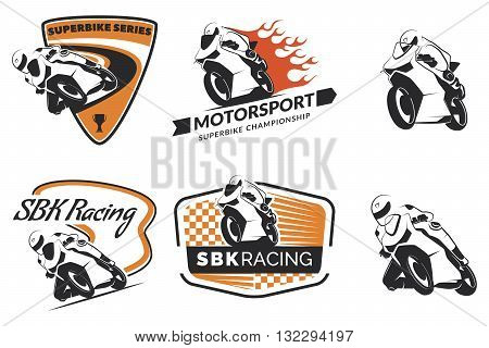 Set of racing motorcycle logo badges and icons. Motorcycle repair service and motorcycle club design elements. Superbike racing team logo. Vector.