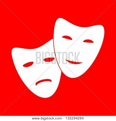 Theater icon with happy and sad masks. White icon on red background.