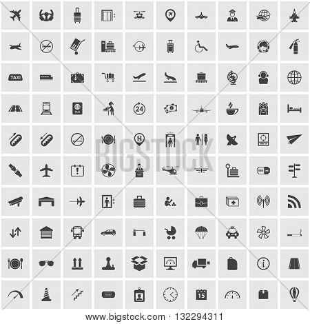 airport icons set, isolated, signs, symbols, for web and mobile